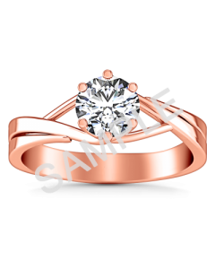 Trellis Princess Solitaire Diamond Engagement Ring - Heart - 14K Rose Gold with 0.29 Carat Princess Diamond  with 0.27 Carat Princess Diamond