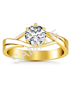 Petite Double Halo Pave Diamond Engagement Ring - Heart - 18K Yellow Gold
