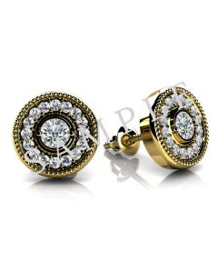 18K Yellow 4mm Round Halo-Style Friction Post Earring Mounting