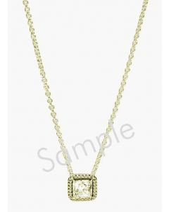 "14K Yellow Cubic Zirconia Heart 15"" Necklace"