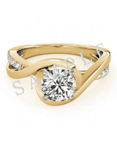 18K Yellow 6.5 mm Round Solitaire Engagement Ring Mounting with 0.20 Carat Princess Diamond