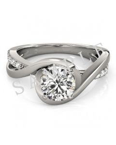 14K White 5.8 mm Round Solitaire Engagement Ring Mounting with 0.74 Carat Round Diamond