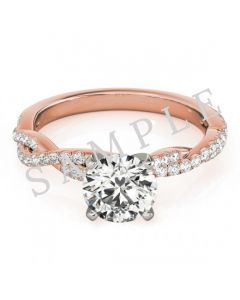 14K Rose 5x5 mm Square Solitaire Engagement Ring Mounting with 0.22 Carat Asscher Diamond  with 0.22 Carat Asscher Diamond
