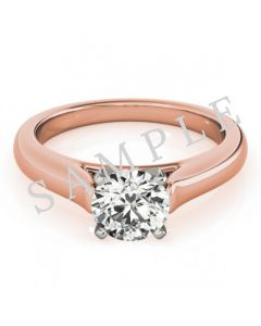 18K Rose 5x5mm Asscher Solitaire Engagement Ring Mounting with 0.25 Carat Round Diamond