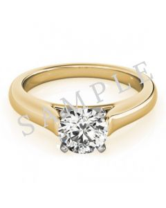 18K Yellow 10x10 mm Square Engagement Ring Mounting