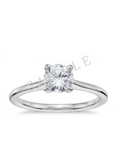 Channel Set Cathedral Diamond Engagement Ring - Oval - 14K White Gold