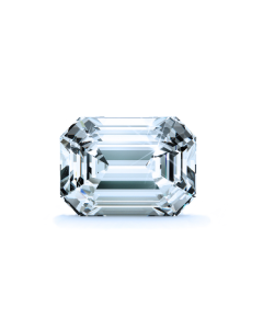 Channel Set Cathedral Diamond Engagement Ring - Asscher - 18K White Gold with 0.202 Carat Round Diamond