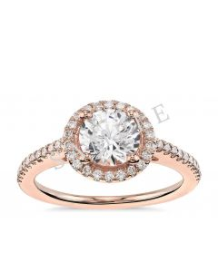 Petite Double Halo Pave Diamond Engagement Ring - Heart - 14K Rose Gold with 0.23 Carat Round Diamond