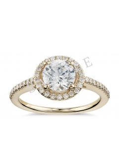 Petite Double Halo Pave Diamond Engagement Ring - Heart - 14K Yellow Gold