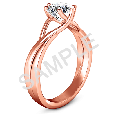 Trellis Princess Solitaire Diamond Engagement Ring - Heart - 14K Rose Gold with 0.29 Carat Princess Diamond  with 0.27 Carat Princess Diamond  1
