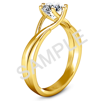 Tapered Diamond Engagement Ring - Oval - 18K Yellow Gold 1