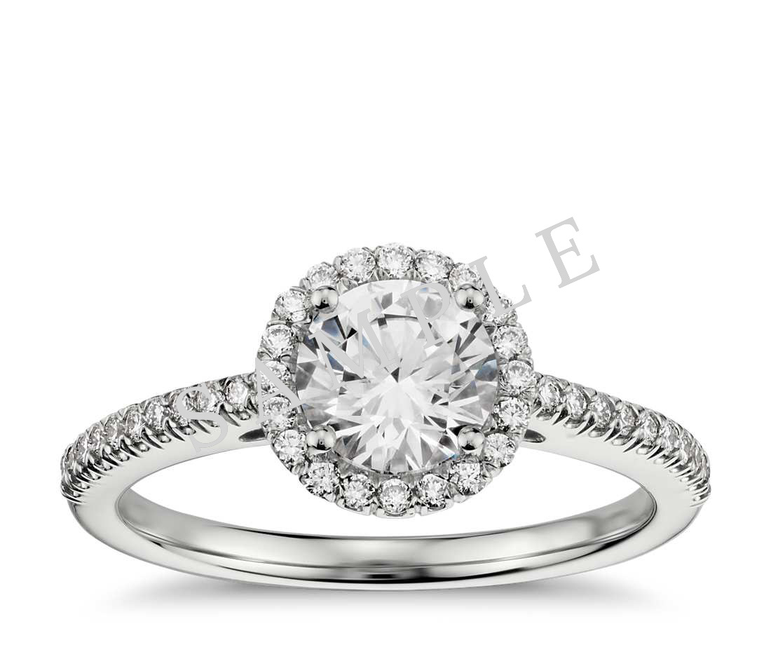 Petite Double Halo Pave Diamond Engagement Ring - Round - Platinum 0