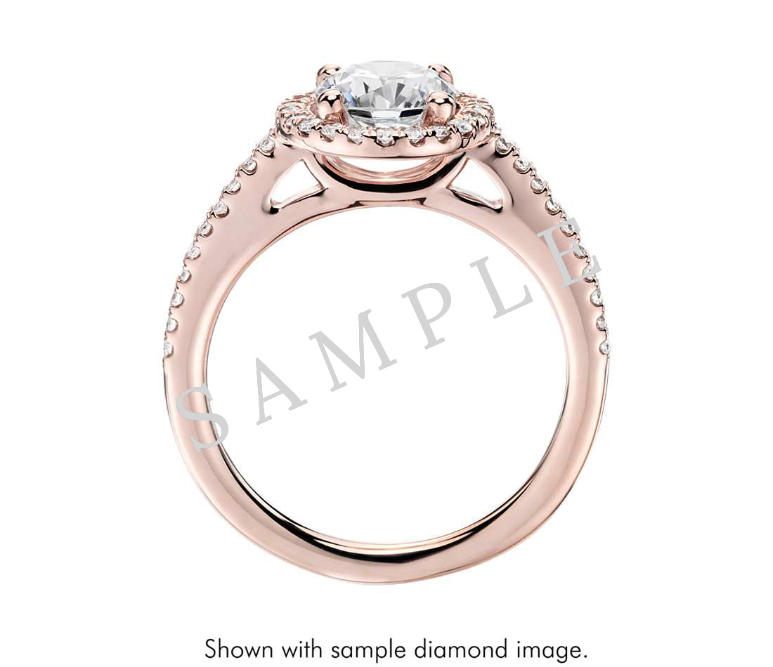 Petite Double Halo Pave Diamond Engagement Ring - Heart - 14K Rose Gold with 0.23 Carat Round Diamond  1