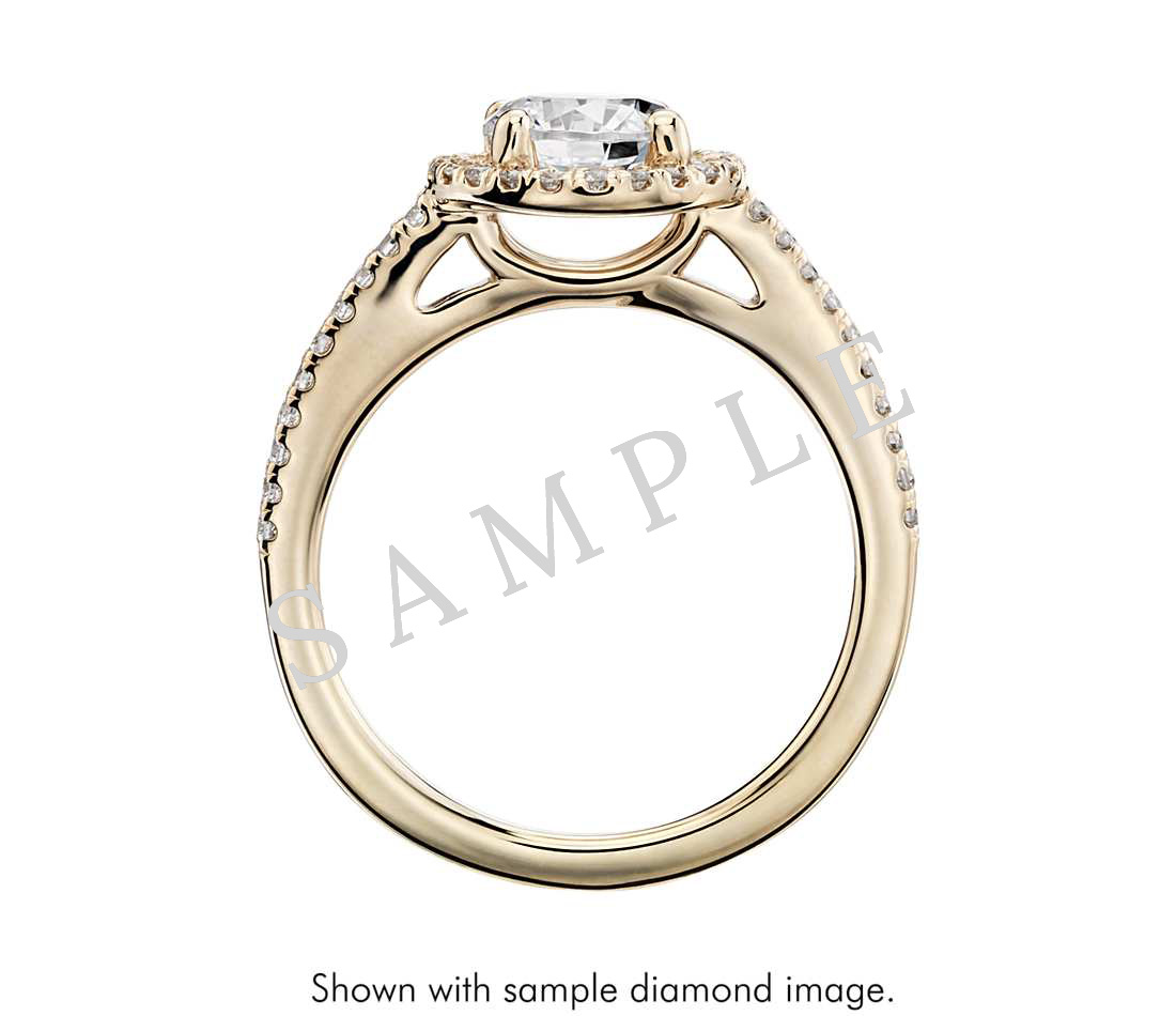 Petite Double Halo Pave Diamond Engagement Ring - Heart - 14K Yellow Gold 1
