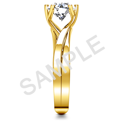 Tapered Diamond Engagement Ring - Oval - 14K Yellow Gold 2