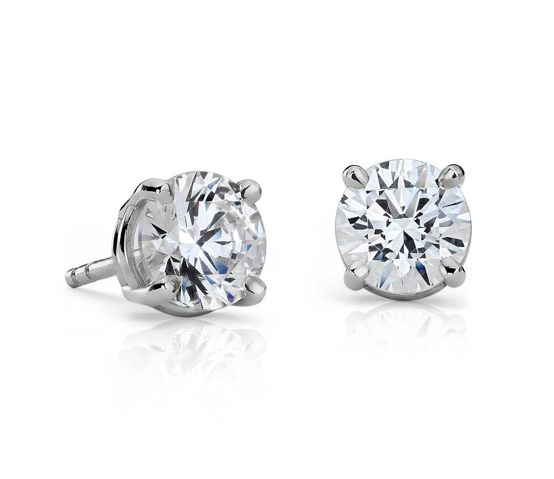14k White Gold Four Prong Princess Earring 1