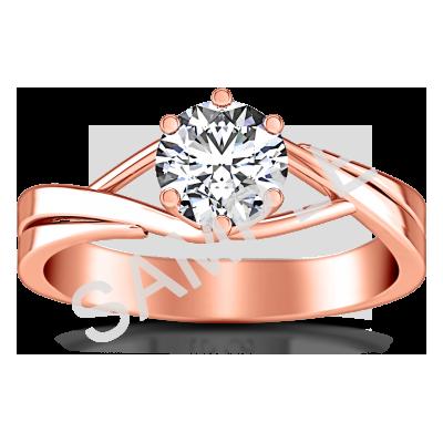 Trellis Princess Solitaire Diamond Engagement Ring - Heart - 18K Rose Gold