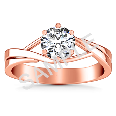 Channel Set Cathedral Diamond Engagement Ring - Round - 18K Rose Gold with 0.29 Carat Round Diamond