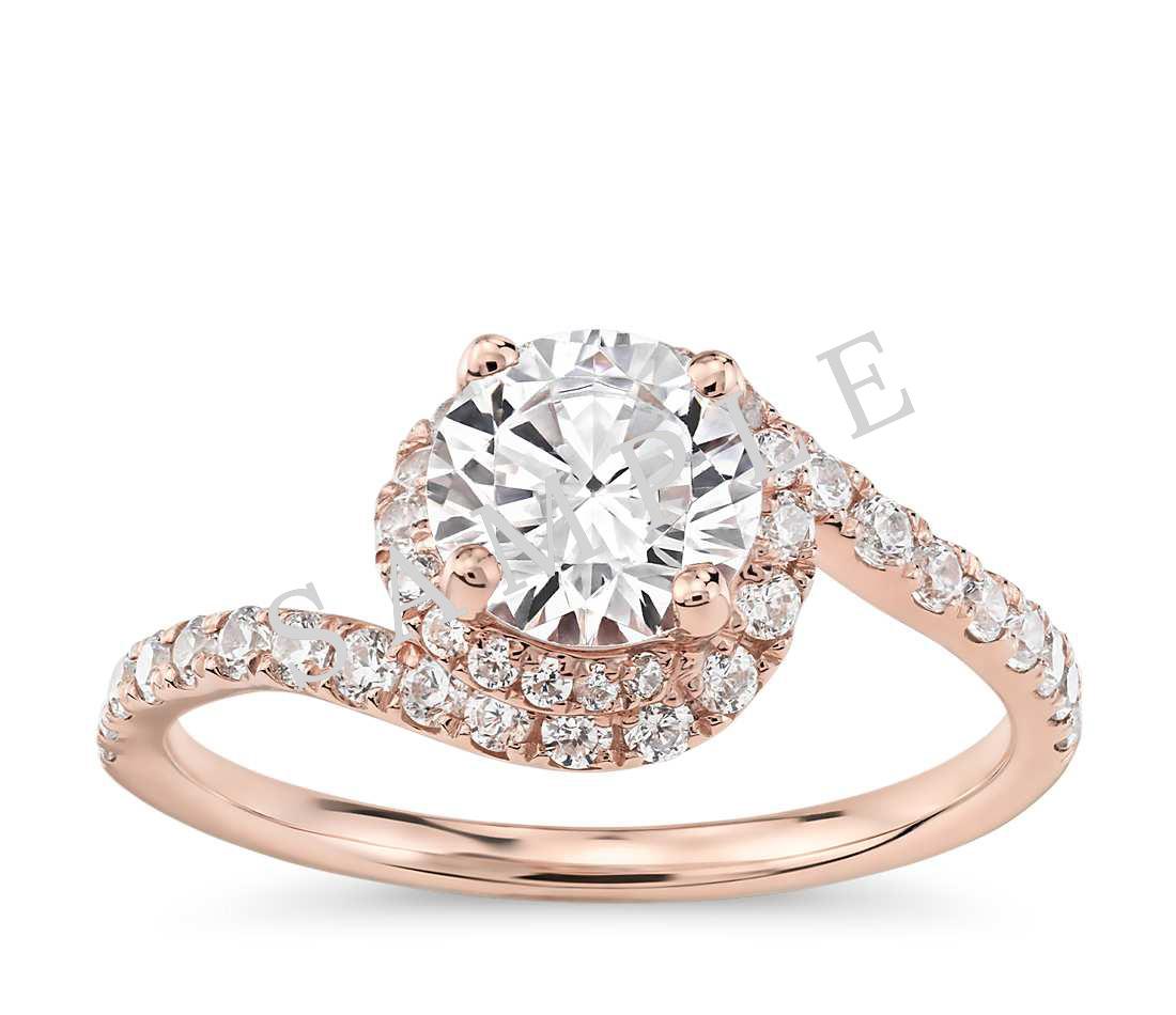 Petite Double Halo Pave Diamond Engagement Ring - Round - 14K Rose Gold