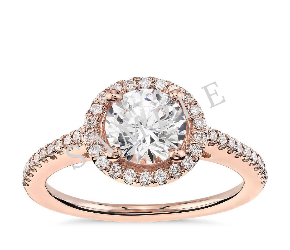 Three Stone Trellis Princess Diamond Engagement Ring - Princess - 18K Rose Gold