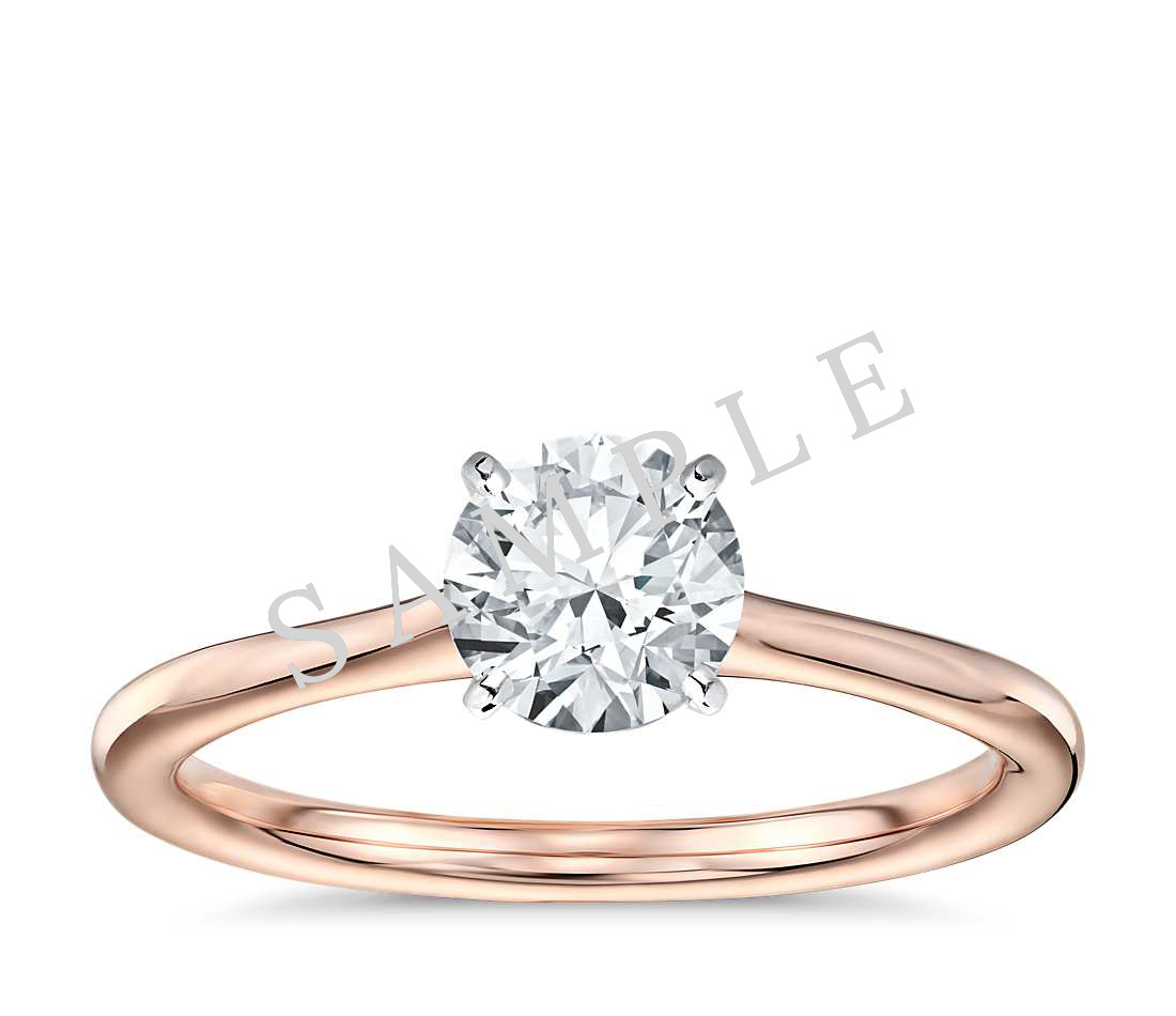 Tapered Diamond Engagement Ring - Round - 18K Rose Gold