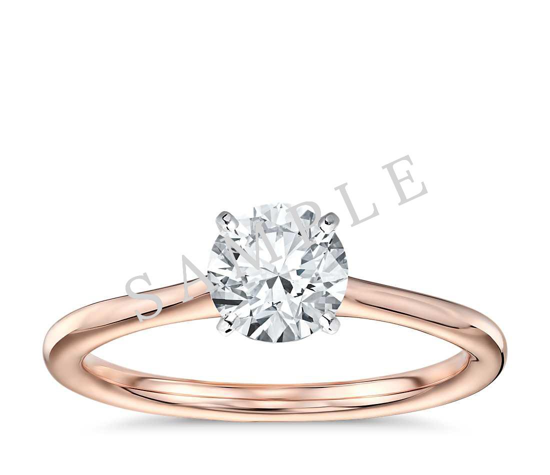 Tapered Diamond Engagement Ring - Asscher - 18K Rose Gold