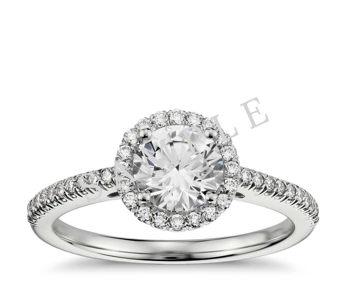 Three Stone Trellis Princess Diamond Engagement Ring - Heart - 14K White Gold