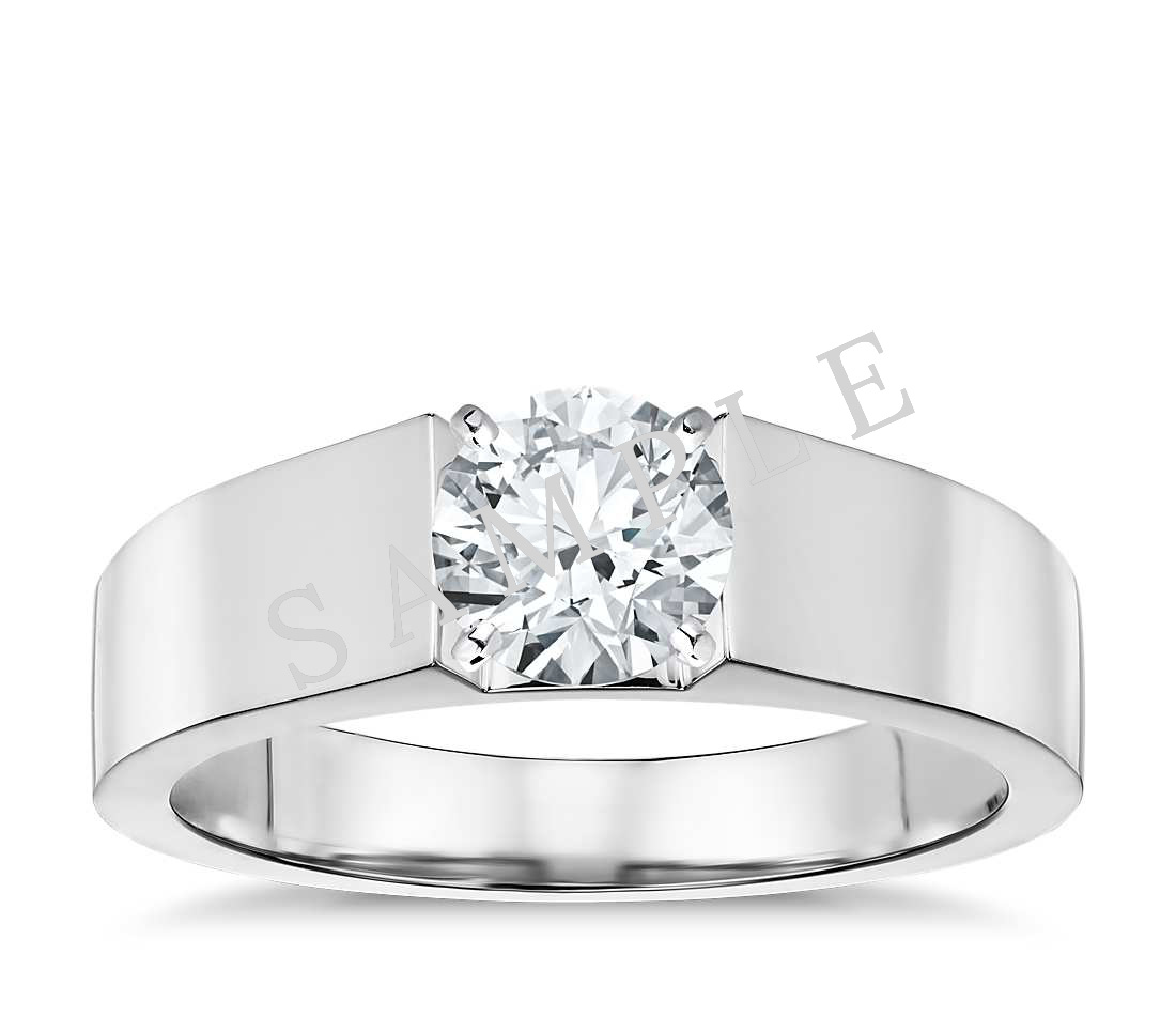 Tapered Diamond Engagement Ring - Round - 14K White Gold