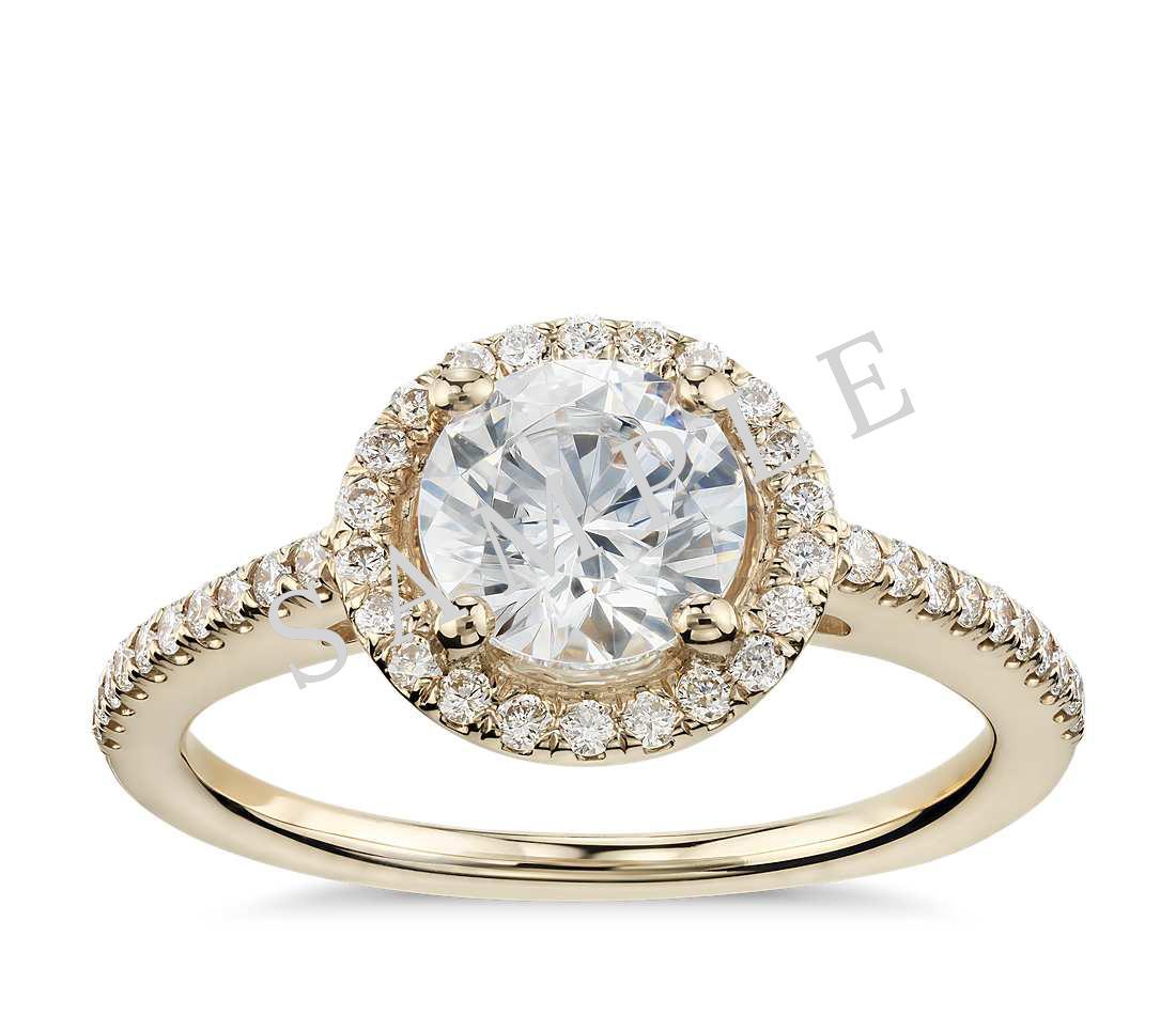 Three Stone Trellis Princess Diamond Engagement Ring - Heart - 14K Yellow Gold