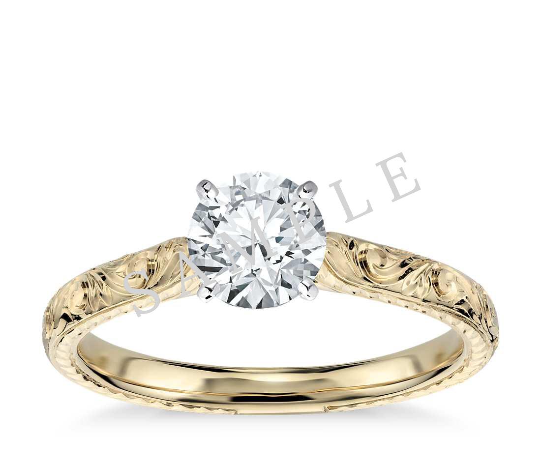 Tapered Diamond Engagement Ring - Round - 14K Yellow Gold