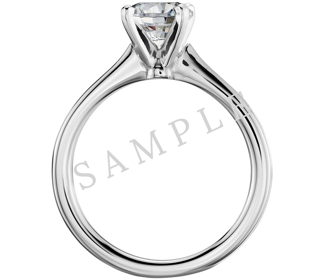 Channel Set Cathedral Diamond Engagement Ring - Emerald - 14K White Gold 1