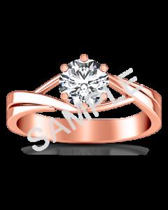Trellis Princess Solitaire Diamond Engagement Ring - Princess - 14K Rose Gold with 0.20 Carat Princess Diamond