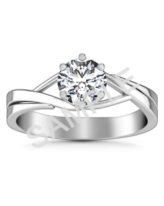 Channel Set Cathedral Diamond Engagement Ring - Radiant - 18K White Gold with 0.25 Carat Round Diamond