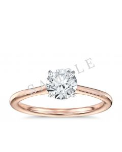 Tapered Diamond Engagement Ring - Asscher - 18K Rose Gold