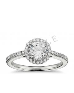 Petite Double Halo Pave Diamond Engagement Ring - Round - Platinum