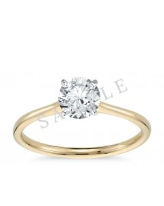 Channel Set Cathedral Diamond Engagement Ring - Emerald - 18K Yellow Gold