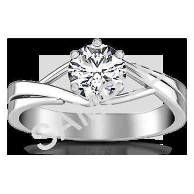Trellis Princess Solitaire Diamond Engagement Ring - Princess - 18K White Gold 0