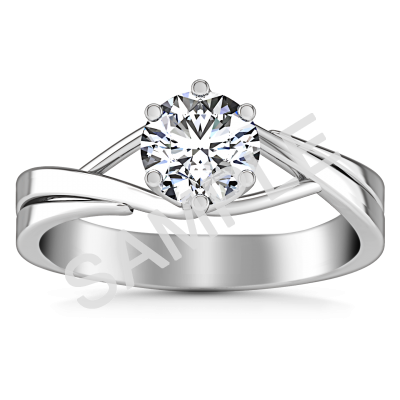 Channel Set Cathedral Diamond Engagement Ring - Round - 18K White Gold with 0.25 Carat Round Diamond  0