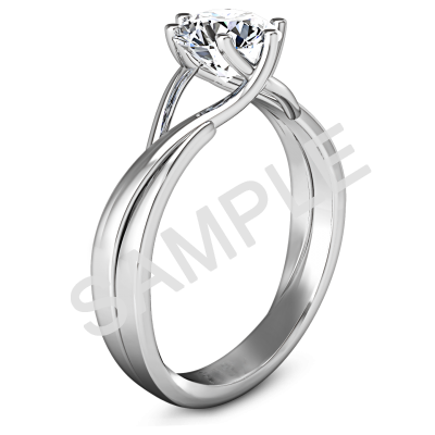 Channel Set Cathedral Diamond Engagement Ring - Radiant - 18K White Gold with 0.25 Carat Round Diamond  1