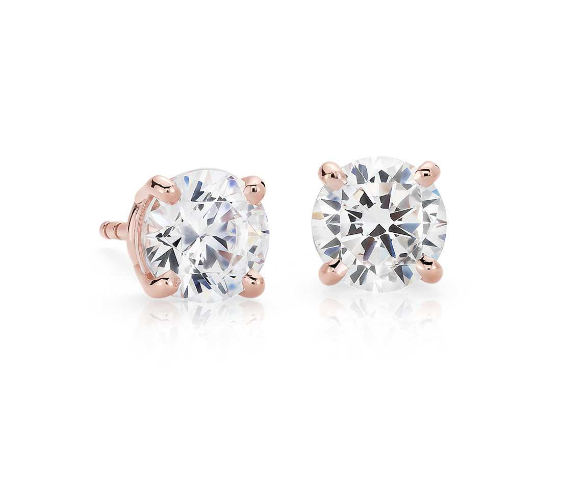 14k Rose Gold Four Prong Princess Earring 0
