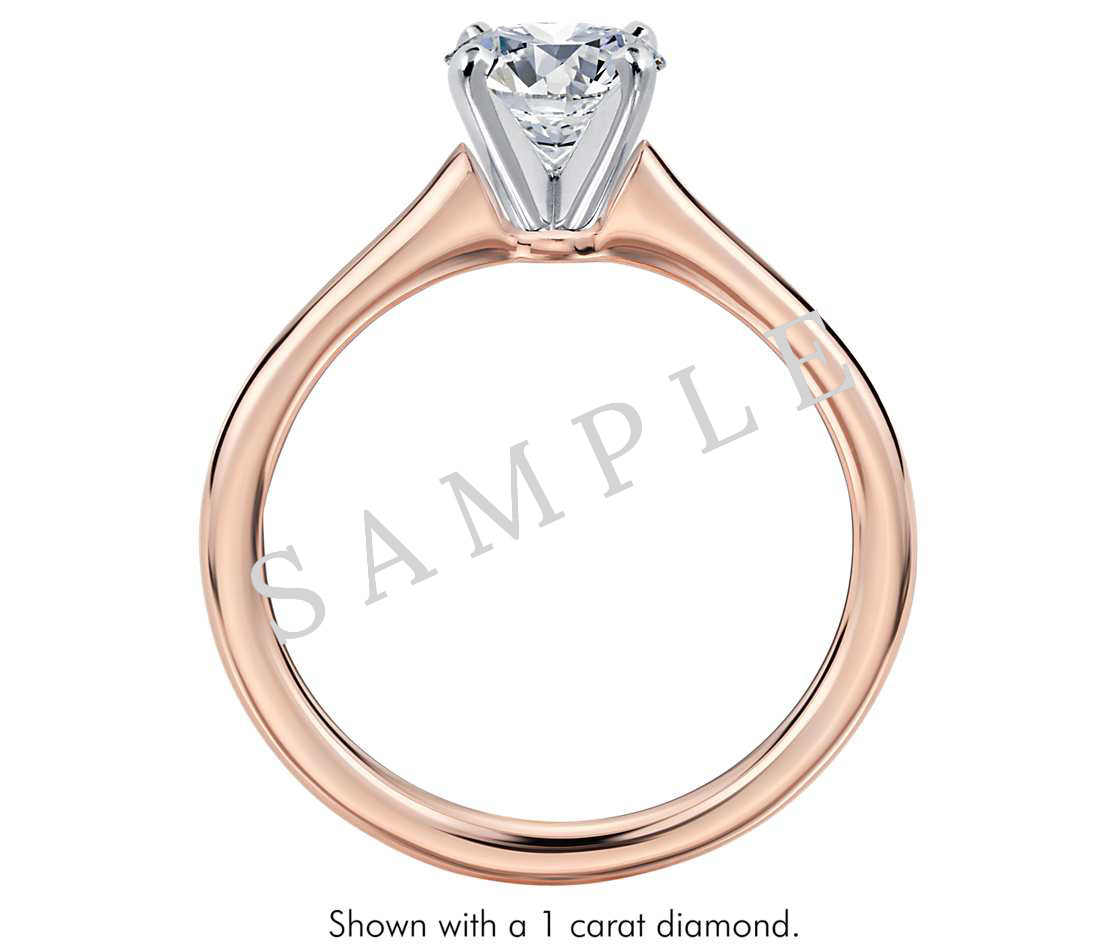 Tapered Diamond Engagement Ring - Asscher - 18K Rose Gold 1
