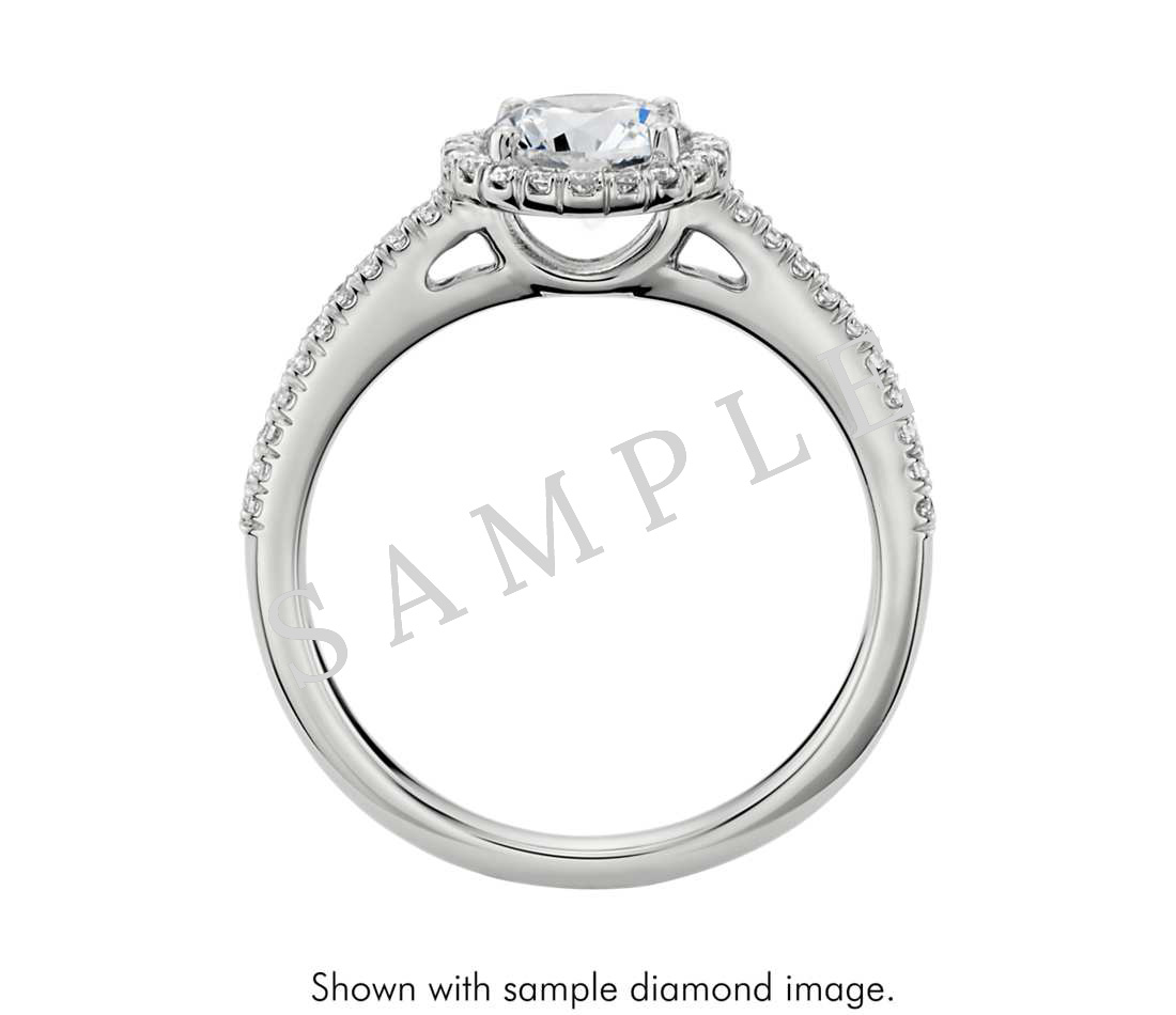 Petite Double Halo Pave Diamond Engagement Ring - Round - Platinum 1