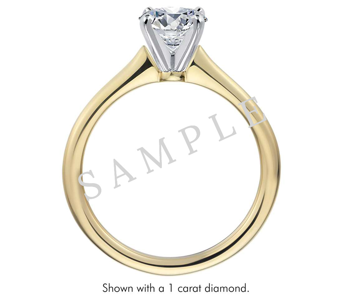 Channel Set Cathedral Diamond Engagement Ring - Emerald - 14K Yellow Gold 1