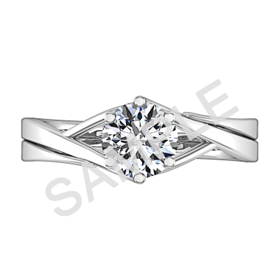 Trellis Princess Solitaire Diamond Engagement Ring - Heart - 18K White Gold 3