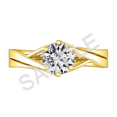 Trellis Princess Solitaire Diamond Engagement Ring - Heart - 14K Yellow Gold 3